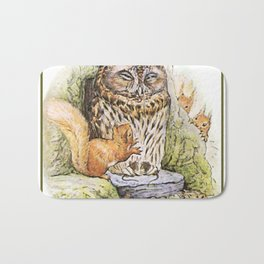 Squirrels tease a sleeping Owl Bath Mat