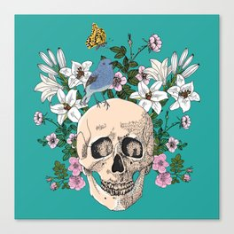 Skull drawing with flowers,bird and butterfly Canvas Print