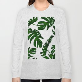 Simply Tropical Palm Leaves in Jungle Green Long Sleeve T-shirt