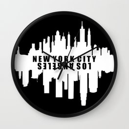 New York City / Los Angeles Skyline Wall Clock