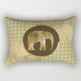 African Elephant on Map and Argyle Rectangular Pillow
