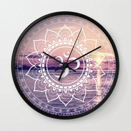 Om Water Mandala Lavender Mauve Wall Clock