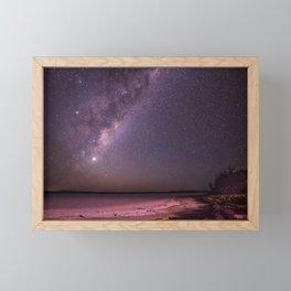The Milky Way Over An Australian Pink Lake Framed Mini Art Print