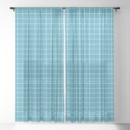 Teal with White Grid Sheer Curtain
