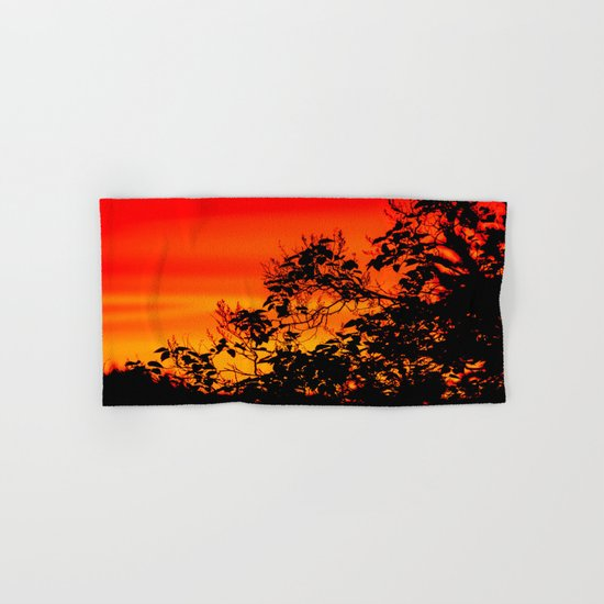 Silhouette of leaf with red autumn sky  Hand & Bath Towel
