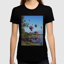 Hot air balloons over lake T-shirt