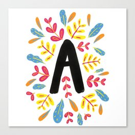Letter 'A' Initial/Monogram With Bright Leafy Border Canvas Print