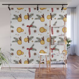 Christmas oranges Wall Mural