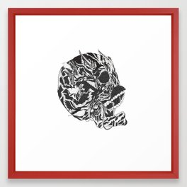 Skull Moustache Framed Art Print