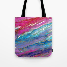 AGATE MAGIC PinkAqua Red Lavender, Marble Geode Natural Stone Inspired Watercolor Abstract Painting Tote Bag
