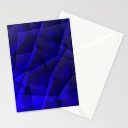 Abstract strict pattern of blue and overlapping fragments and glass lines of irregular shape. Stationery Cards