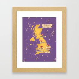 Map Of the Most Haunted Locations of the United Kingdom. Framed Art Print