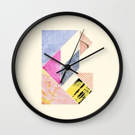 Collaged Tangram Alphabet - B Wall Clock