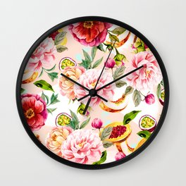 Pattern flowers and tropical fruits Wall Clock