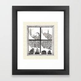 SNOWED IN BONSAI VINTAGE PEN AND PENCIL DRAWING Framed Art Print