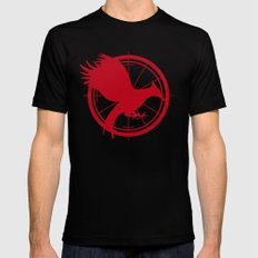 Catching Fire MockingJay - Red MEDIUM Mens Fitted Tee Black