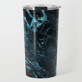 Black & Teal Color Marble Travel Mug