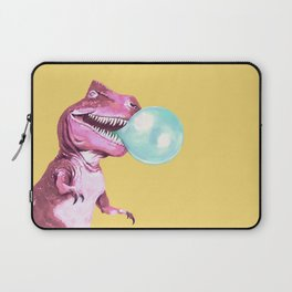 Bubble Gum Pink T-rex in Yellow Laptop Sleeve