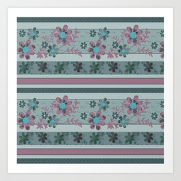 Retro . Turquoise and purple floral pattern . Art Print