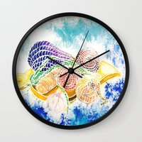 vegetables Wall Clocks featuring Vegetables by Elena_Voro