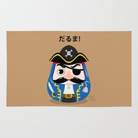 pirates Area & Throw Rugs featuring Pirates Daruma by elysiaillustration