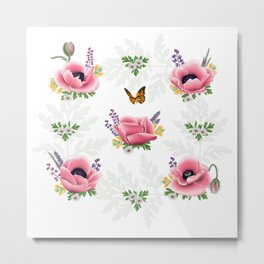 Artpilotage Poppies & wildflowers pattern Metal Print