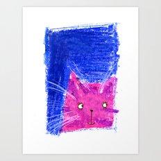 Crayon Cat Art Print