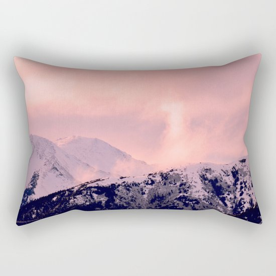 Kenai Mts Bathed in Serenity Rose - II Rectangular Pillow