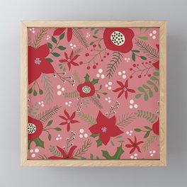 Holiday Flowers-Pink Framed Mini Art Print