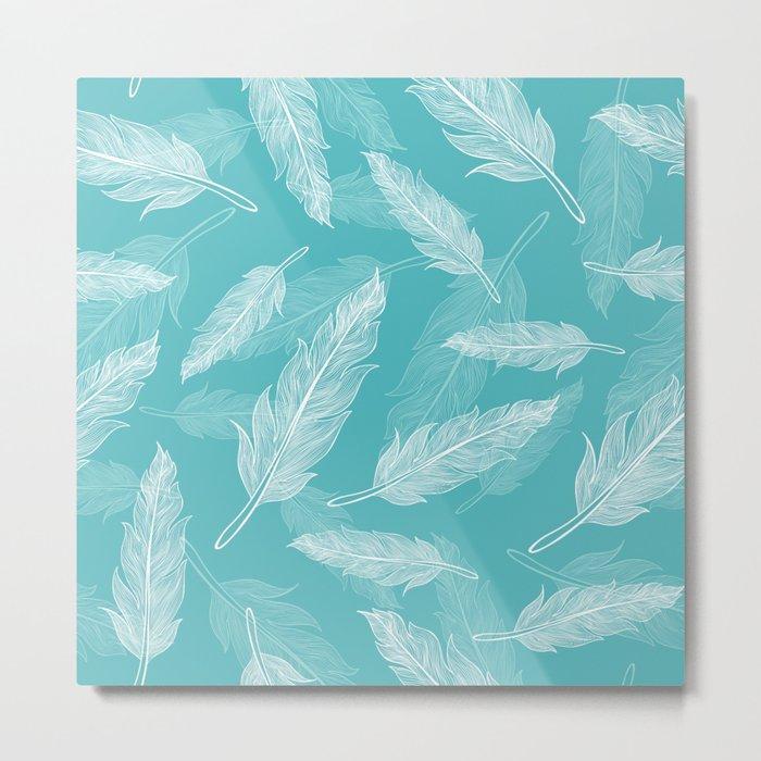 Seamless feathers pattern Metal Print