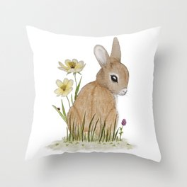 Rabbit Among the Flowers Throw Pillow