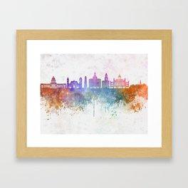 Havana V2  skyline in watercolor background Framed Art Print