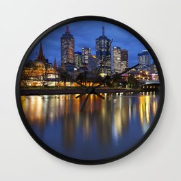 I - Skyline of Melbourne, Australia across the Yarra River at night Wall Clock