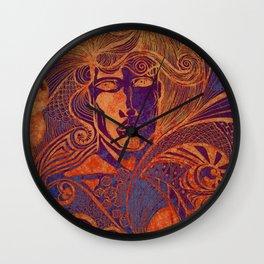 Drawing face girl thriller art Wall Clock