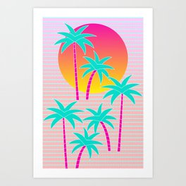 Hello Miami Sunset Art Print
