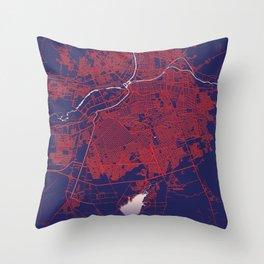 Culiacán, Sinaloa, Mexico, Blue, White, City, Map Throw Pillow