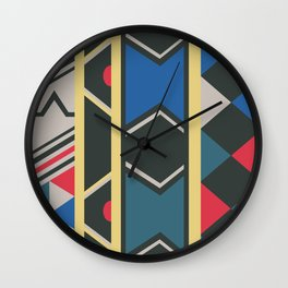 Ndebele red, yellow, blue Wall Clock