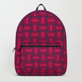 REITERATE - candy apple carmine red and blue block repeat pattern Backpack