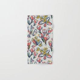 First Spring Flowers / Snowdrop, Primrose, Crocus Hand & Bath Towel