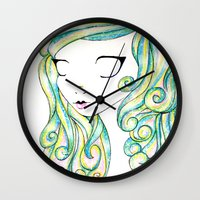 fairy Wall Clocks featuring Fairy by Caitlin Roberts