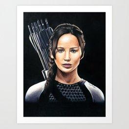 "Katniss Everdeen - Catching Fire ""Fire Burns Brighter In The Darkness"" | Drawing Art Print"