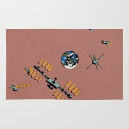 Earth, Moon, and Space Trash Rug
