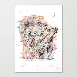 """The Inquisitive One"" watercolor otter design Canvas Print"
