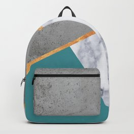 MARBLE TEAL GOLD GRAY GEOMETRIC Backpack