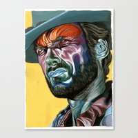 clint eastwood Canvas Prints featuring Clint Eastwood by Cartyisme