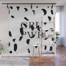 Girl Power black and white pattern Wall Mural