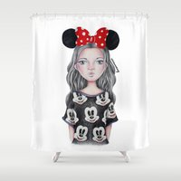 minnie mouse Shower Curtains featuring Minnie Mouse Inspired Style Girl Drawing by vivianhitsugaya