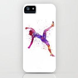 Woman runner running jumping shouting iPhone Case