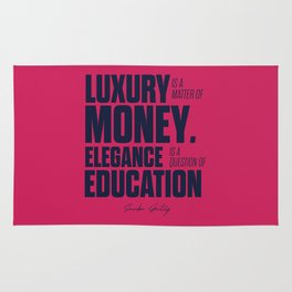 Motivational quote for gentleman about luxury and education, Sacha Guitry, inspirational sentence Rug