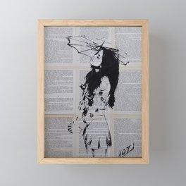 Girl with sunshade Framed Mini Art Print